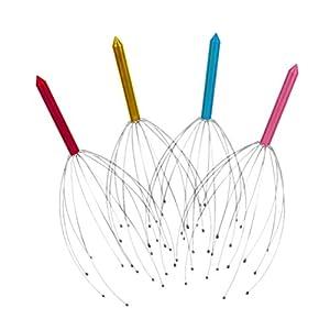 Supvox 4 Stücke Kopfmassagegerät Kopfkrauler Kopfkralle Kopfmassage Spinne mit Massagefingern und Edelstahl Griff für Spa Entspannung (Zufällige Farbe)
