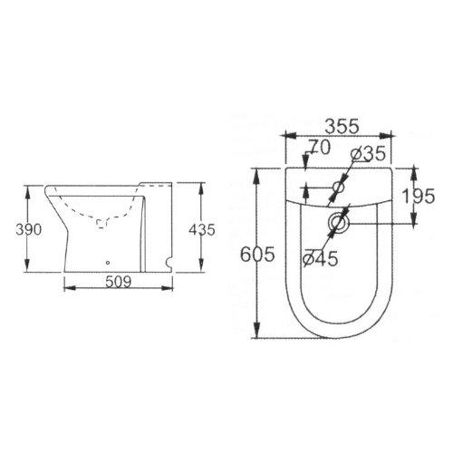 EAGO Bidet JA1010 (weiß) Standbidet mit Nano-Beschichtung passend zu Stand-WC WA101SP
