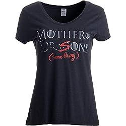 Ann Arbor T-shirt Co. «Mother of Dragons (er, Sons - Same Thing)» (Madre de Dragones [o de Hijos, Que es lo Mismo]) - Camiseta con Cuello en V para Mujer X-Large Negro - X-Grande - XL