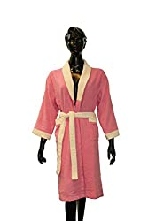 Welhome by Welspun Cloudz Bathrobe Large Bathrobe - Pink-Ivory