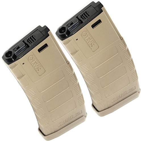 Airsoft Softair Ausrüstung King Arms 2pc 370rd TWS T-MAG Hi-Cap Mag Magazin für M4 Tokyo Marui, CYMA, E&C, ARES, A&K, Echo1, JG, VFC, ICS, Classic Army, G&P, G&G M4 M16 AEG Dark Earth Tan (Cyma Mag)