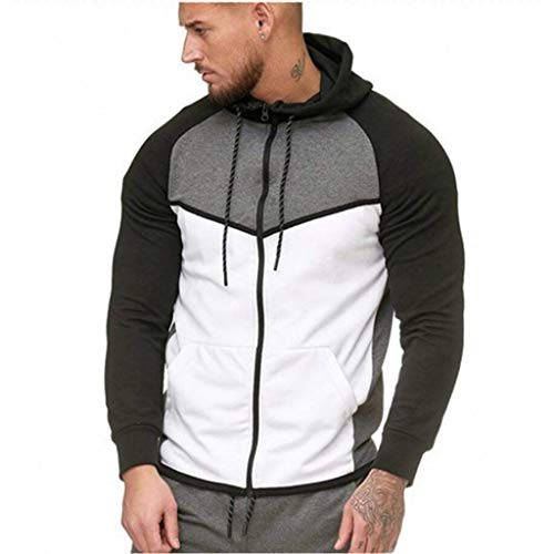 VECDY Herren Pullover, Kapuzenpullover Männer Reißverschluss Farbe Farbe Pullover Langarm Tops Sweatshirt Hoodie
