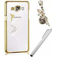 Vandot 3 in 1 Accessories Set Lusso Bling Custodia Cover Case per Samung Galaxy A5 Clear Ultra Sottile Thin Duro Telefono Protettiva Case Premium Transparente Pittura di Colore Angelo Stile Cellulari Caso + Rhinestones Protezione di Polvere Angel Brillare Anti-Dust Spina + Penne Capacitive Universali Penna Touch Screen Stylus Pens