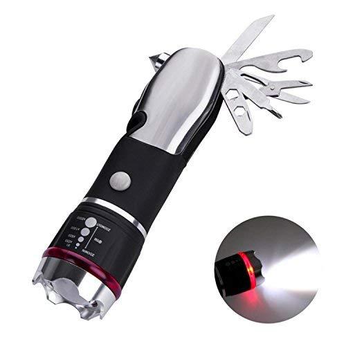 LaySun Notfall-Multitool für Auto, 12 Funktionen inkl. LED-Taschenlampe, Nothammer, Gurtmesser, Messer, Flaschenöffner, Schere und Schraubendreher
