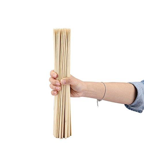 41FMsbn2mAL - Lumanuby 90 x Holz Grillspieße Marinaden Sticks, Einweg-Grill Utensilien Bambus Party Sticks, Perfekt für BBQ Fleisch, Steaks Vieles Mehr (30 cm)