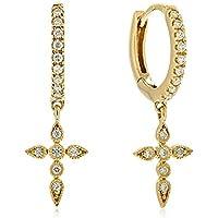 Brandlinger ® Atelier Ohrringe mit Kreuz Anhänger aus vergoldetem 925 Sterling Silber mit Zirkonia Steinen für Frauen…