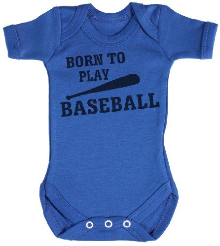 TRS - Born To Play BaseBall Body bébé - cadeaux de bébé 12-18 Mois Bleu