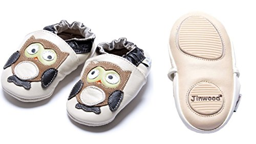 Jinwood designed by amsomo - Boys - Jungen - Hausschuhe - echt Leder Lederpuschen - Krabbelschuhe - soft sole / mini shoes div. Groeßen owl beige mini shoes