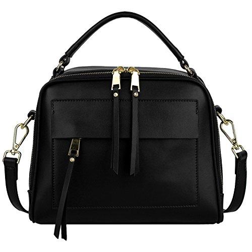 YaluxeDamen TascheniedlicherDoppelReißverschlussLederHandtascheTop GriffCross BodySchultertasche Umhängetasche schwarz