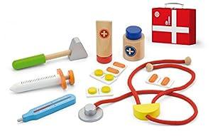 Top Race Juego de médicos para niños de 10 piezas, kit de herramientas médicas de madera, madera no tóxica y kit médico con bisagras, juego de roles para médicos, Tr-W400, marrón