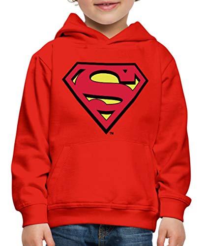 Spreadshirt DC Comics Superman Logo Original Kinder Premium Hoodie, 122/128 (7-8 Jahre), Rot