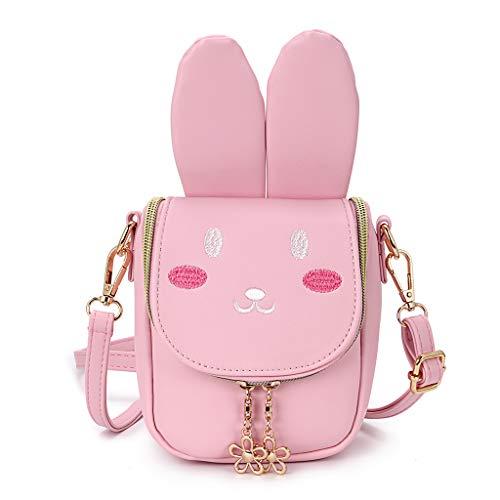 BTSKY PU kleine Mädchen Crossbody Umhängetasche - süße Umhängetasche Geldbörsen Bag Snack Bag für Kleinkind Kinder, beste Geschenk für kleine Mädchen (Pink Bunny)
