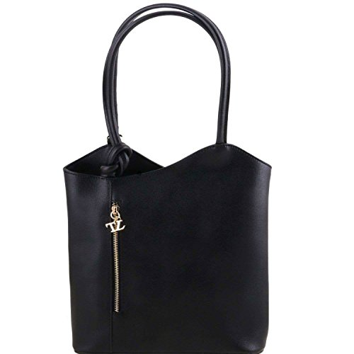 Tuscany Leather - Patty - Sac en cuir Saffiano convertible en sac à dos - Noir