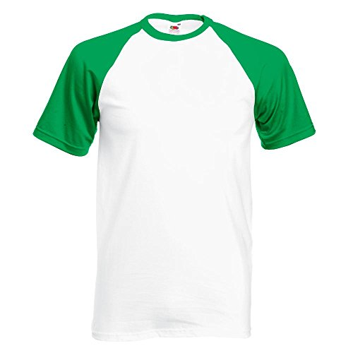 Fruit of the Loom - Kontrast T-Shirt 'Baseball T' / White/Kelly Green, M