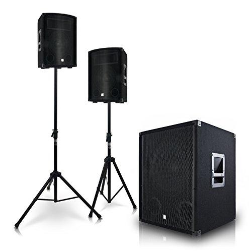 "eSmart Germany Soundsystem YAMATO-LYNX   Aktiv 38 cm (15"")   3.000 W   PA Lautsprecher mit Subwoofer inklusive Stative - KRAFTVOLLE STEREO-KLANGQUALITÄT"