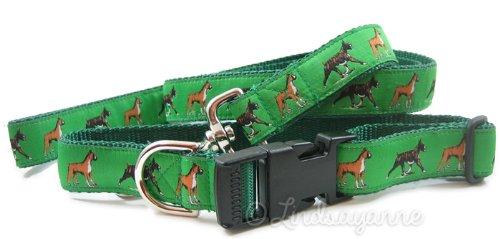 Dog Ink Boxer Hunderasse Hund Halsband und Leine Set, Standard, Grün -