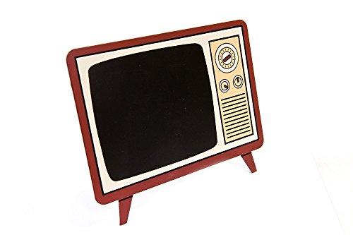 """Preisvergleich Produktbild Tafel / Aufsteller """"Fernseher im Retro-Look"""" zum individuellen Beschriften - Material Holz mit Tafelüberzug - inklusive Standfuß"""