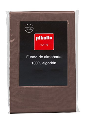 Pikolin Home - Almohadón, funda de almohada, 100% algodón, almohadas de 135 y 150cm, color marrón...