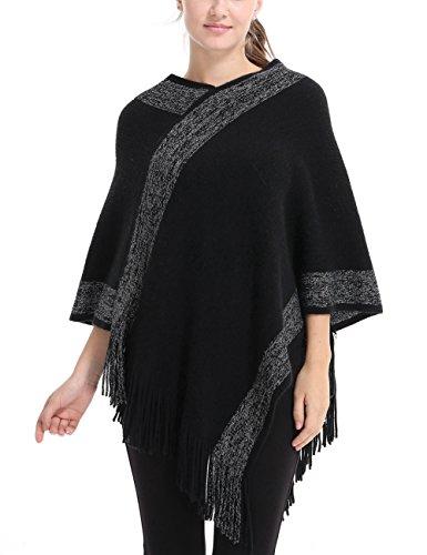 Ferand stylischer Gestrickter Poncho Pullover mit Streifen, V-Ausschnittund Fransen für Frauen, One Size, Schwarz