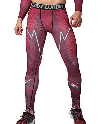 Cody Lundin Männer Blitz/Blitz gedruckt rot Fitness Leggings männliche Partei dating laufen lange Sport Hosen (XL) Hulk Männer Hosen
