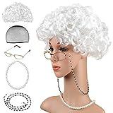 Beelittle Old Lady Kostüm Großmutter Cosplay Zubehör Set - Oma Perücke Perücke Kappe Brille Brillen Ketten Armband Perlenkette - 5 Stück
