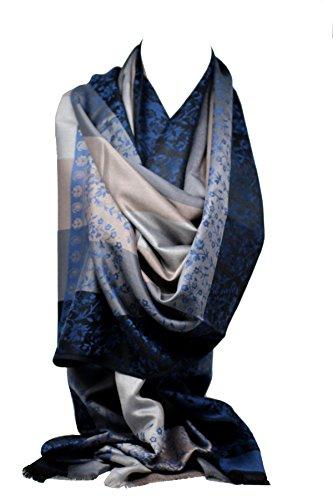 Qualität zwei doppelseitigen Druck selbst geprägte Pashmina Feel Wrap Schal Stola Schal (Königsblau Blumen/Streifen) - Streifen Pashmina Schal