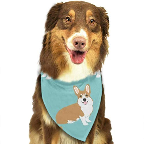 Dog Bandana Funny Corgi Dogs Mint Green Pet Scarf Triangle Bibs Kerchief Set Pet Costume Accessories Decoration for Small Medium Large Dogs Cats Pets