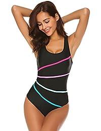 Meaner Fashion Origin Damen Sport Swimwear Badeanzug Einteiliger  Schwimmanzug Schlankheits Badeanzüge Swimsuit Figurformend Bademode  Rückenfrei Monokini mit ... cdf5c9a582