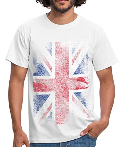 Union T-shirts (Spreadshirt Union Jack Used Look Männer T-Shirt, M, Weiß)