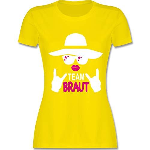JGA Junggesellinnenabschied - Rocker Team Braut - weiß - S - Lemon Gelb - L191 - Damen Tshirt und Frauen T-Shirt