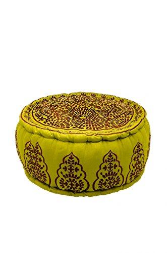 Orientalischer runder Pouf aus Baumwolle 50cm inklusive Füllung | Marokkanisches Sitzkissen Sitzpouf Kissen Haydar ø 50cm Rund | Marokkanischer Hocker Sitzhocker Fusshocker bestickt