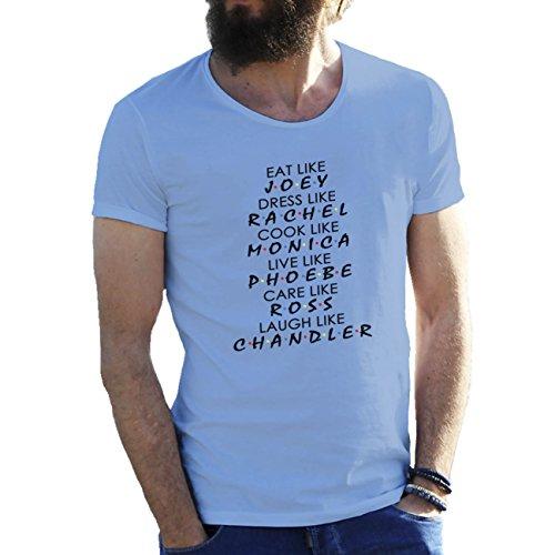 Fun Friends Characters Joey Rachel Monica Herren T-Shirt Hellblau