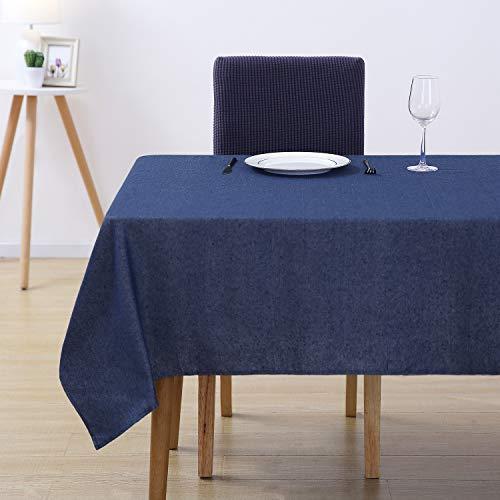 Deconovo Tischdecke Tischwäsche Lotuseffekt Tischtuch 130x130 cm Dunkelblau