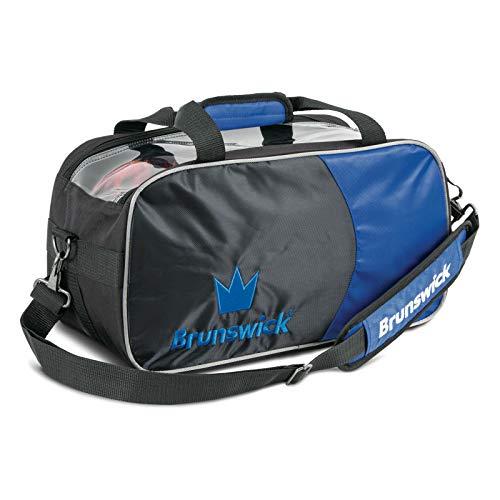 Brunswick Crown Double Bowling Ball Zweiballtasche inkl. Adressanhänger (blau, Double Tote)