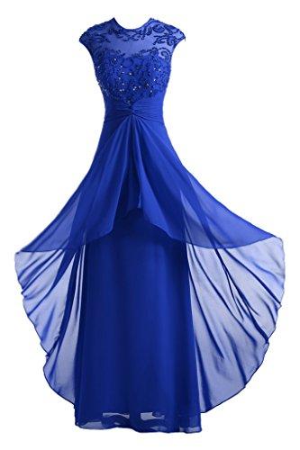 Gorgeous Bride Modisch Rundkragen Chiffon Perlen Lang A-Linie Ballkleid Abendkleid Festkleid Royalblau