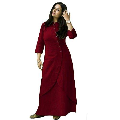 Zipker Cotton Kurti With Skirt Set For Girls & Women Maroon Color(Latest...