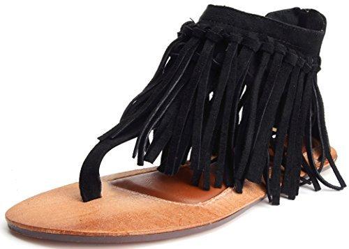 Odema Donne Sandali estate laccio dietro al cinturino alla caviglia frangia Thong piatte Nero