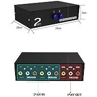 Duttek conmutador AV de 2 Puertos conmutador RCA 2 en 1 Salida de Video Compuesto L/R Caja de selección de Audio para Consolas de Juegos DVD STB