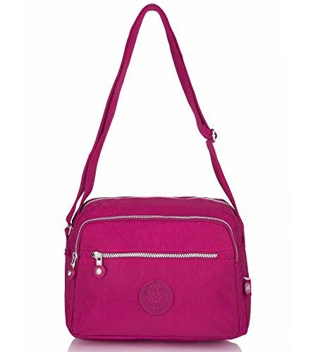 Oakarbo Damen Schultertasche Umhängetasche Nylon Travel Cross Body Bag(1301 Armee grün) 939 Rose rot