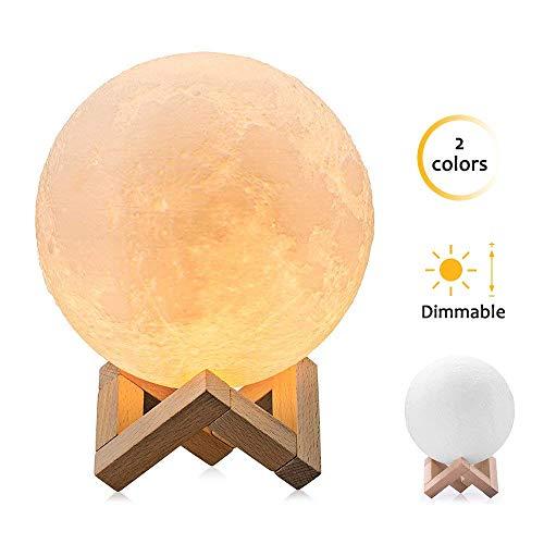 [Aggiornamento] 3D Lampada luna, luce lunare notturna a LED lampada da tavolo controllo tattile luminosità due toni, Luce Notturna per Bambini lampada da comodino Regalo per San Valentino Diametro 9cm
