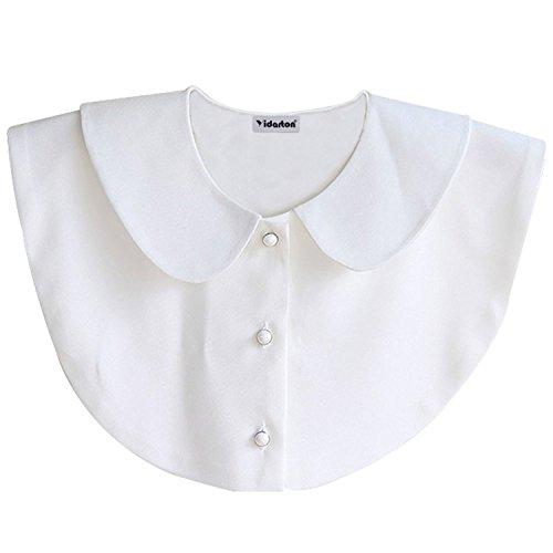 Yidarton Frauen Halbes Hemd Bluse Abnehmbarer Kragen (Front button round collar-White) (White Shirt Collar-kleid)