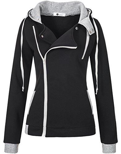Zarlena Damen Jacke Reißverschluss Hoodie Kapuzenpullover Sweatshirtjacke Schwarz XL 3511