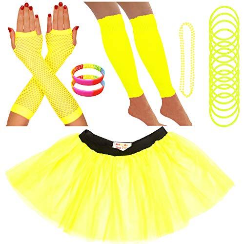 Redstar Fancy Dress - Tutu-Röckchen, Beinstulpen, Netzhandschuhe, Perlenkette, schmale Gummiarmbänder und breite Armbänder - Neonfarben - Gelb - 36-40