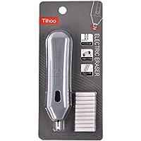 Gomas de borrar eléctricas con 10 recambios para lápices de grafito y lápices de color 12,5 x 2,8 x 2,3 cm, funciona con pilas, color gris