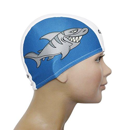 Diapolo Professionale Schwimmkappe Hai Lycra Badekappe Bademütze Schwimmmütze Kinder für Mädchen und Jungen (Blau-Weiß)