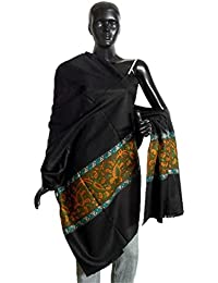 DollsofIndia Black Woolen Shawl with Paisley Design - 40 x 82 inches (NP97)