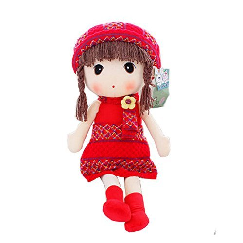 Lovely Braid Girl Doll Sweater Plush Toy Ideal Gift 60CM Height,Red
