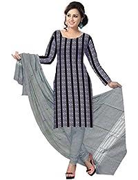 Odisha Saree Store Women,s Black with Light Grey Cotton Unstitched Salwar Suit.