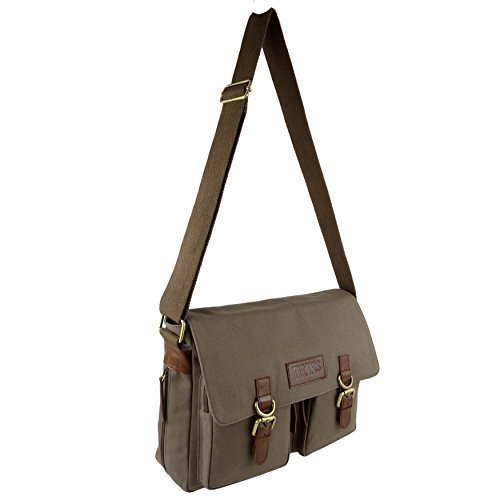 Leinwand Leder Umhängetasche Messenger Tasche von Taranis Travel geräumiges Khaki