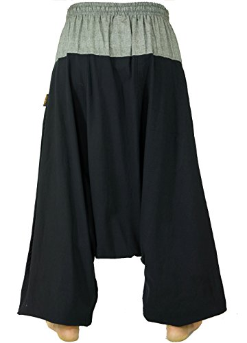Guru-Shop Haremshose, Pluderhose, Pumphose, Aladinhose, Herren/Damen, Baumwolle, Size:One Size, Männerhosen Alternative Bekleidung Schwarz/Grau